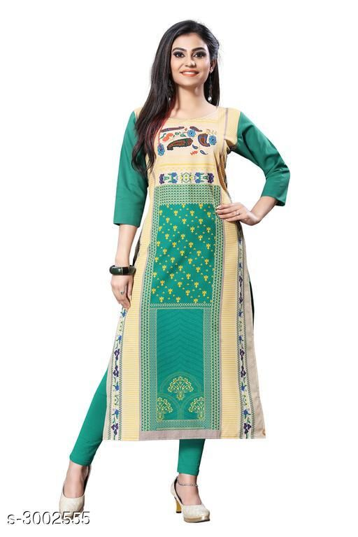Kurtis & Kurtas Trendy Crepe  Women's Kurtis  *Trendy Crepe  Women's KurtisFabric* Crepe  *Sleeves* Sleeves Are Included  *Size* S - 36 in, M - 38 in, L - 40 in, XL - 42 in, XXL - 44 in  *Length* Up To 44 in  *Type* Stitched  *Description* It Has 1 Piece Of Women's Kurti  *Work* Printed  *Sizes Available* S, M, L, XL, XXL   Catalog Rating: ★4.4 (14) Supplier Rating: ★3.9 (7798) SKU: 117-1 Shipping charges: Rs1 (Non-refundable) Pkt. Weight Range: 300  Catalog Name:  Carissa  Crepe Women's Kurtis Vol 2 - Crepe wali Kurtis Code: 792-3002555--304