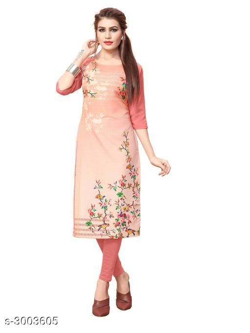 Kurtis & Kurtas Women Botanical Printed Crepe Kurti  *Fabric* Crepe  *Sleeves* Sleeves Are Included  *Size* S - 36 in, M - 38 in, L - 40 in, XL - 42 in, XXL - 44 in  *Length* Up To 42 in  *Type* Stitched  *Description* It Has 1 Piece Of Women's Kurti  *Work* Printed  *Sizes Available* S, M, L, XL, XXL   Catalog Rating: ★3.7 (858) Supplier Rating: ★3.9 (13881) SKU: 98_(1) Shipping charges: Rs1 (Non-refundable) Pkt. Weight Range: 300  Catalog Name: Women Printed Crepe Kurtis - Crepe wali Kurtis Code: 072-3003605--663