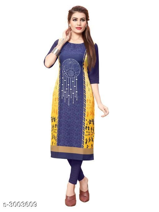Kurtis & Kurtas Women Tribal Printed Crepe Kurti  *Fabric* Crepe  *Sleeves* Sleeves Are Included  *Size* S - 36 in, M - 38 in, L - 40 in, XL - 42 in, XXL - 44 in  *Length* Up To 42 in  *Type* Stitched  *Description* It Has 1 Piece Of Women's Kurti  *Work* Printed  *Sizes Available* S, M, L, XL, XXL   Catalog Rating: ★3.7 (858) Supplier Rating: ★3.9 (13881) SKU: 102_(1) Shipping charges: Rs1 (Non-refundable) Pkt. Weight Range: 300  Catalog Name: Women Printed Crepe Kurtis - Crepe wali Kurtis Code: 072-3003609--663