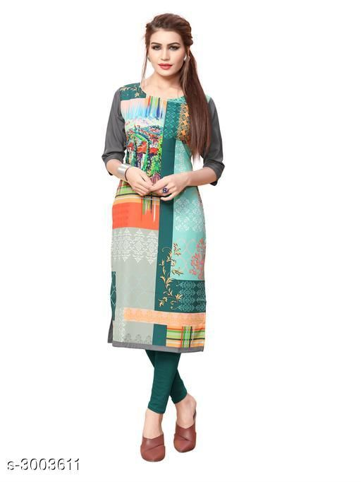 Kurtis & Kurtas Women Botanical Printed Crepe Kurti  *Fabric* Crepe  *Sleeves* Sleeves Are Included  *Size* S - 36 in, M - 38 in, L - 40 in, XL - 42 in, XXL - 44 in  *Length* Up To 42 in  *Type* Stitched  *Description* It Has 1 Piece Of Women's Kurti  *Work* Printed  *Sizes Available* S, M, L, XL, XXL   Catalog Rating: ★3.7 (858) Supplier Rating: ★3.9 (13881) SKU: 89_(1) Shipping charges: Rs1 (Non-refundable) Pkt. Weight Range: 300  Catalog Name: Women Printed Crepe Kurtis - Crepe wali Kurtis Code: 072-3003611--663