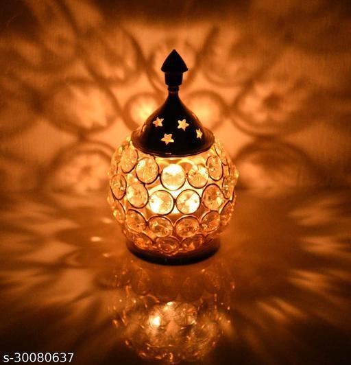 Heaven Decor Brass Crystal Matki Akhand Diya  Crystal Oil Lamp For Puja  Home Decorative Diya 5.5 Inch