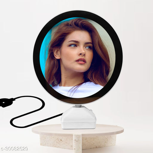 Magic Mirror Photo Frame with LED Light in Round Sape
