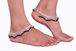 Anuttam's silver plated beads work anklets for women and girls