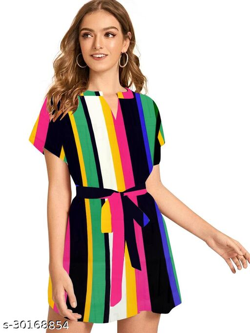 Women Western Shirt Dress With Belt In Amazing Colour Combination