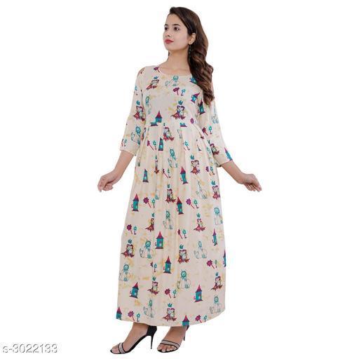 Kurtis & Kurtas Stylish Rayon Womens Long Kurti  *Fabric* Rayon  *Sleeves* Sleeves Are Included  *Size* M - 38 in, L - 40 in, XL - 42 in, XXL - 44 in, 3XL - 46 in  *Length* Up To 54 in  *Type* Stitched  *Description* It has 1 Pieces of Women's Long Kurti  *Work* Printed  *Sizes Available* M, L, XL, XXL, XXXL *    Catalog Name: Namrata Stylish Rayon Womens Long Kurtis Vol 5 CatalogID_413004 C74-SC1001 Code: 164-3022133-