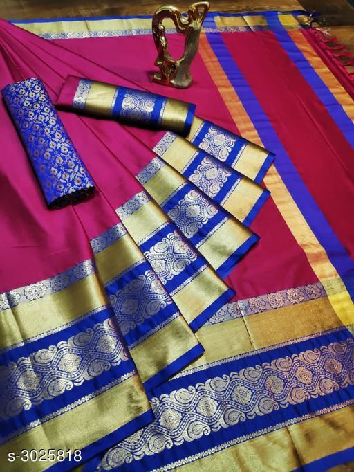 Sarees Trendy Cotton Silk Women's Sarees   *Fabric* Saree - Cotton Silk , Blouse - Cotton Silk, Extra Blouse - Cotton Silk  *Size* Saree Length With Running Blouse - 6.30 Mtr, Extra Blouse - 0.80 Mtr  *Description* It Has 1 Piece Of  Saree With Running Blouse With 1 Piece Of Extra Blouse  *Work* Woven Design  *Sizes Available* Free Size *   Catalog Rating: ★4.1 (1128)  Catalog Name: Solid Cotton Silk Sarees With Tassels And Latkans CatalogID_413574 C74-SC1004 Code: 075-3025818-