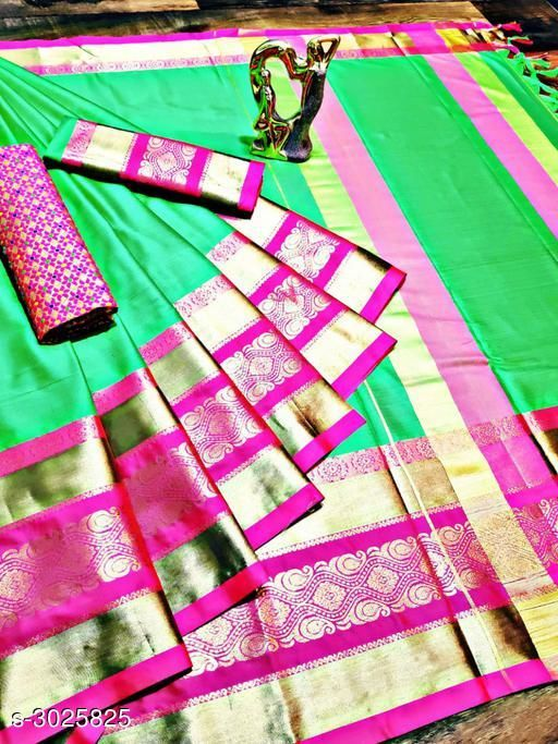 Sarees Trendy Cotton Silk Women's Sarees   *Fabric* Saree - Cotton Silk , Blouse - Cotton Silk, Extra Blouse - Cotton Silk  *Size* Saree Length With Running Blouse - 6.30 Mtr, Extra Blouse - 0.80 Mtr  *Description* It Has 1 Piece Of  Saree With Running Blouse With 1 Piece Of Extra Blouse  *Work* Woven Design  *Sizes Available* Free Size *   Catalog Rating: ★4.1 (1128)  Catalog Name: Solid Cotton Silk Sarees With Tassels And Latkans CatalogID_413574 C74-SC1004 Code: 075-3025825-