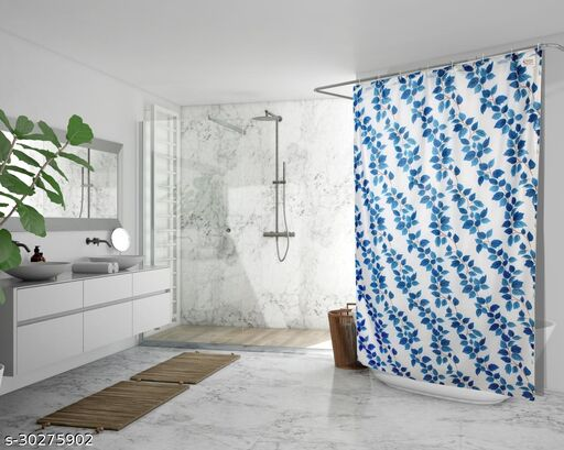 Stylista Waterproof Shower Curtains for Bathroom 7 feet Height 4.5 feet Width String of Leaves Pattern Blue with 8 Hooks