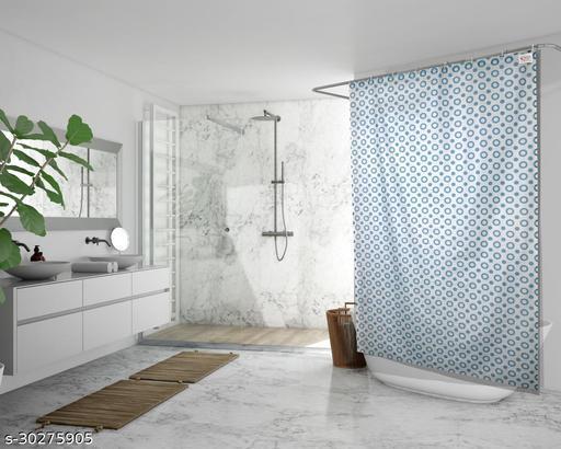 Stylista Waterproof Shower Curtains for Bathroom 7 Feet Height 4.5 Feet Width Geometric Pattern Blue with 8 Hooks