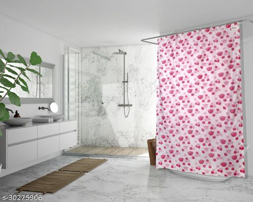 Stylista Waterproof Shower Curtains for Bathroom 7 feet Height 4.5 feet Width Floral Pattern Pink with 8 Hooks