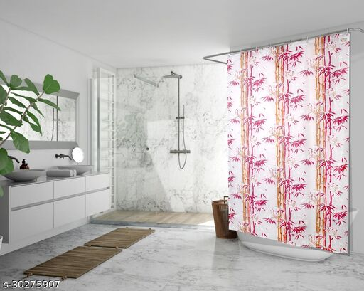 Stylista Waterproof Shower Curtains for Bathroom 7 feet Height 4.5 feet Width Bamboo Branches Pattern Pink with 8 Hooks