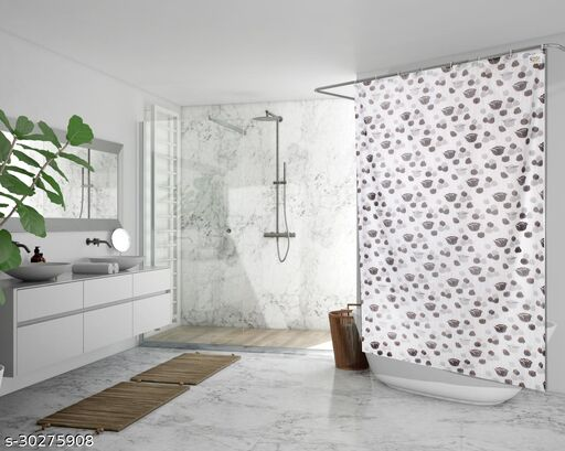 Stylista Waterproof Shower Curtains for Bathroom 7 Feet Height 4.5 Feet Width Floral Pattern Grey with 8 Hooks