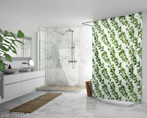 Stylista Waterproof Shower Curtains for Bathroom 7 feet Height 4.5 feet Width String of Leaves Pattern Green with 8 Hooks