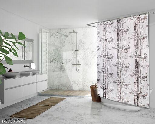 Stylista Waterproof Shower Curtains for Bathroom 7 feet Height 4.5 feet Width Bamboo Branches Pattern Grey with 8 Hooks