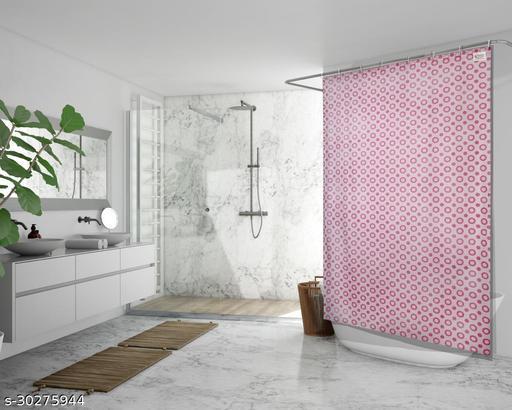 Stylista Waterproof Shower Curtains for Bathroom 7 feet Height 4.5 feet Width Geometric Pattern Pink with 8 Hooks