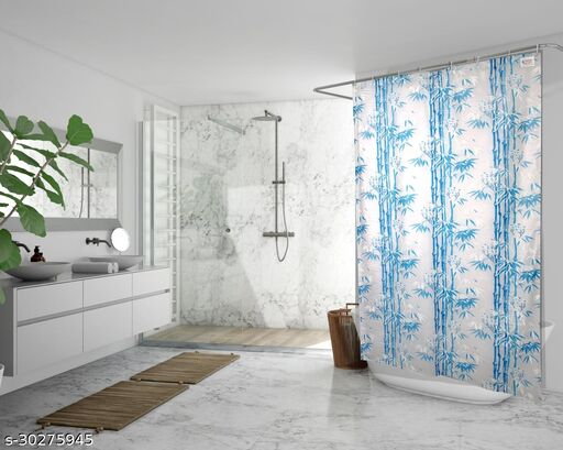 Stylista Waterproof Shower Curtains for Bathroom 7 feet Height 4.5 feet Width Bamboo Branches Pattern Blue with 8 Hooks
