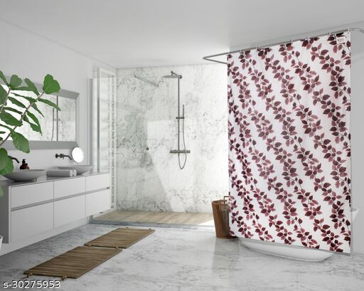 Stylista Waterproof Shower Curtains for Bathroom 7 feet Height 4.5 feet Width String of Leaves Pattern Brown with 8 Hooks