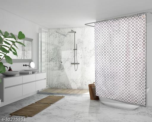 Stylista Waterproof Shower Curtains for Bathroom 7 feet Height 4.5 feet Width Geometric Pattern Grey with 8 Hooks