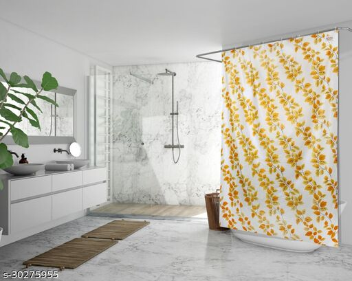 Stylista Waterproof Shower Curtains for Bathroom 7 feet Height 4.5 feet Width String of Leaves Pattern Yellow with 8 Hooks