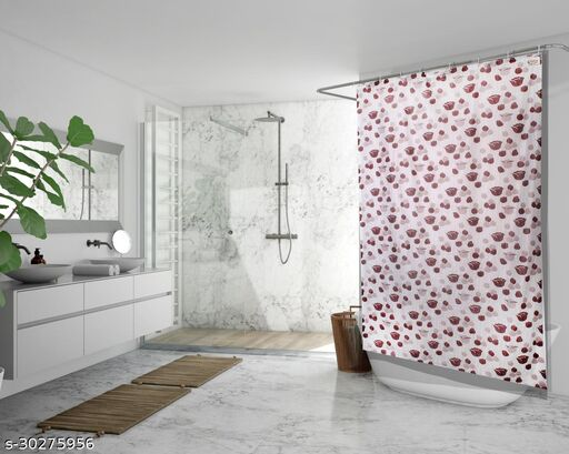 Stylista Waterproof Shower Curtains for Bathroom 7 feet Height 4.5 feet Width Floral Pattern Brown with 8 Hooks
