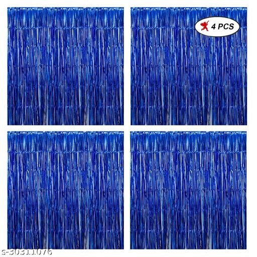 LUXZURYDSP BLUE Foil Curtain Pack of 4 for Birthday, Anniversaries, Graduation, Retirement, Baby Shower Decoration