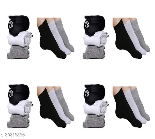Men's Cotton Towel Ankle Length Socks for Gents and Men - Pack of 12 Pairs