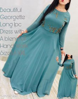 Fancy and attrective Gowns Desinge work with lock moti and flower designs