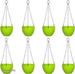 MorningVale Plastic Diamond Hanging Pot, Green, 8 in, 8 Pieces