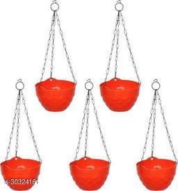 MorningVale Plastic Diamond Hanging Pot, Orange, 8 in, 5 Pieces