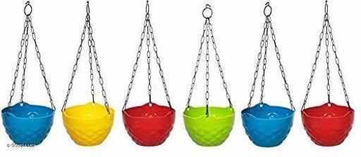 MorningVale Plastic Diamond Hanging Pot, Multicolour, 8 inch, 6 Pieces