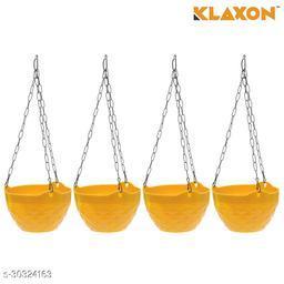 MorningVale Plastic Diamond Hanging Pot, Yellow, 8 in, 4 Pieces