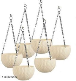 """MorningVale 6"""" Woven Design Hanging Euro Basket Planters for Indoor/Outdoor with Hanging Chain, White (Pack of 6)"""