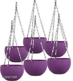 """MorningVale 6"""" Woven Design Hanging Euro Basket Planters for Indoor/Outdoor with Hanging Chain,Purple (Pack of 6)"""