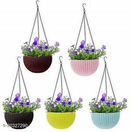 """MorningVale 6"""" Woven Design Hanging Euro Basket For Indoor and Outdoor with Chain Plant Container Set  (Pack of 5, Plastic) Multicolor"""