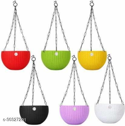 """MorningVale 6"""" Woven Design Hanging Euro Basket Planters for Indoor/Outdoor with Hanging Chain (Pack of 6), Multicolor"""