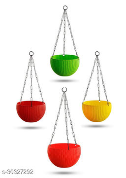 """MorningVale 6"""" Woven Design Hanging Euro Basket For Indoor and Outdoor with Chain Plant Container Set  (Pack of 4, Plastic) Multicolor"""