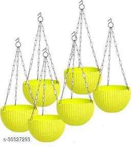 """MorningVale 6"""" Woven Design Hanging Euro Basket Planters for Indoor/Outdoor with Hanging Chain, Yellow (Pack of 6)"""