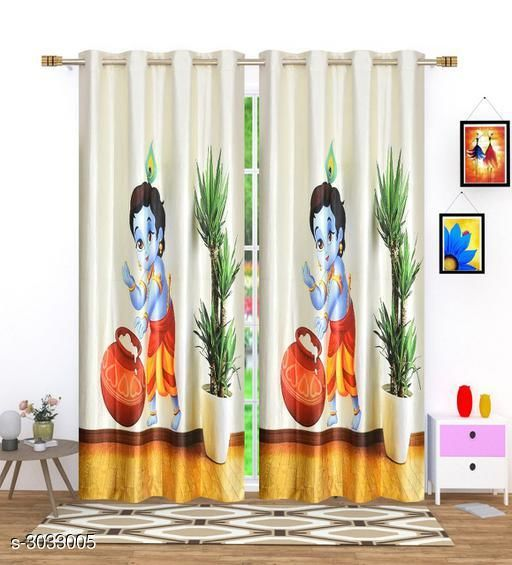 Stylish Polyester Long Door Curtains (Pack Of 2)