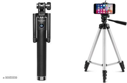 Silver Tripod Stand & Good Collection Selfie Stick Combo