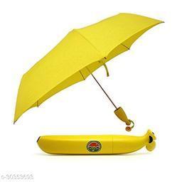 Banana Triple Folding Rain Sun Umbrella - Yellow