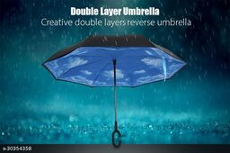 Double Layer Inverted Reversible No Drip Umbrella with C Shape Handle - MultiColor