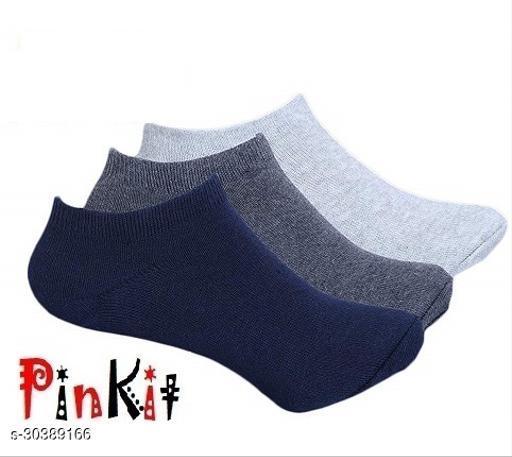 EKshi Fancy Trendy Soft Cotton Ankle Length Socks (3Pairs) - 1 grey & 1Black & 1 Lightgrey