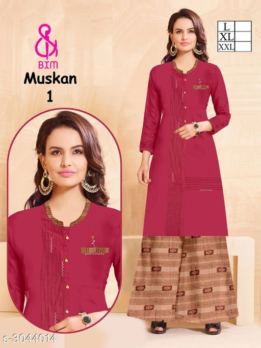 Kurta Sets Attractive Soft Cotton Women's Kurta Set  *Fabric* Kurti - Soft Cotton , Bottom - Soft Cotton   *Sleeves* Sleeves Are Included   *Size* Kurti  - L - 40 in, XL - 42 in, XXL - 44 in ,Bottom - L - 32 ,XL - 34 in, XXL -36 in   *Type* Stitched   *Length* Kurti - Up To 46 in, Bottom - Up To 40 in   *Description* It Has 1 Piece Of Women's Kurti With 1 Piece Of Bottom   *Work * Printed  *Sizes Available* L, XL, XXL   Supplier Rating: ★4.1 (3038) SKU: ASCWKS_1 Shipping charges: Rs1 (Non-refundable) Pkt. Weight Range: 500  Catalog Name: Siya Attractive Soft Cotton  Women's Kurta Sets Vol 9 - Step up wear Code: 827-3044014--658