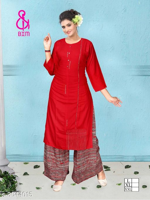 Kurta Sets Attractive Soft Cotton Women's Kurta Set  *Fabric* Kurti - Soft Cotton , Bottom - Soft Cotton   *Sleeves* Sleeves Are Included   *Size* Kurti  - L - 40 in, XL - 42 in, XXL - 44 in ,Bottom - L - 32 ,XL - 34 in, XXL -36 in   *Type* Stitched   *Length* Kurti - Up To 46 in, Bottom - Up To 40 in   *Description* It Has 1 Piece Of Women's Kurti With 1 Piece Of Bottom   *Work * Printed  *Sizes Available* L, XL, XXL   Supplier Rating: ★4.1 (3038) SKU: ASCWKS_2 Shipping charges: Rs1 (Non-refundable) Pkt. Weight Range: 500  Catalog Name: Siya Attractive Soft Cotton  Women's Kurta Sets Vol 9 - Step up wear Code: 827-3044015--658