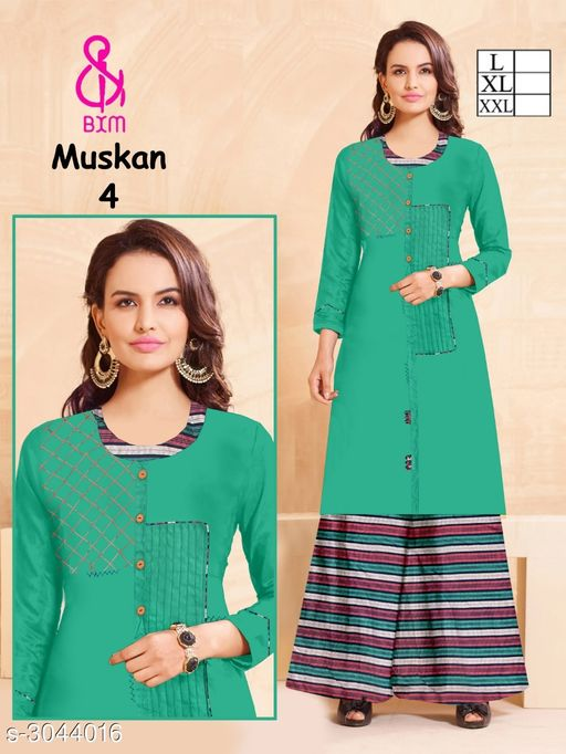 Kurta Sets Attractive Soft Cotton Women's Kurta Set  *Fabric* Kurti - Soft Cotton , Bottom - Soft Cotton   *Sleeves* Sleeves Are Included   *Size* Kurti  - L - 40 in, XL - 42 in, XXL - 44 in ,Bottom - L - 32 ,XL - 34 in, XXL -36 in   *Type* Stitched   *Length* Kurti - Up To 46 in, Bottom - Up To 40 in   *Description* It Has 1 Piece Of Women's Kurti With 1 Piece Of Bottom   *Work * Printed  *Sizes Available* L, XL, XXL   Supplier Rating: ★4.1 (3038) SKU: ASCWKS_3 Shipping charges: Rs1 (Non-refundable) Pkt. Weight Range: 500  Catalog Name: Siya Attractive Soft Cotton  Women's Kurta Sets Vol 9 - Step up wear Code: 827-3044016--658