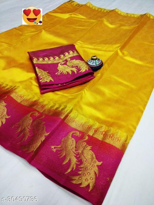 Women's Fancy Kanjivaram Jacquard Saree With Blouse (Yellow,Pink)
