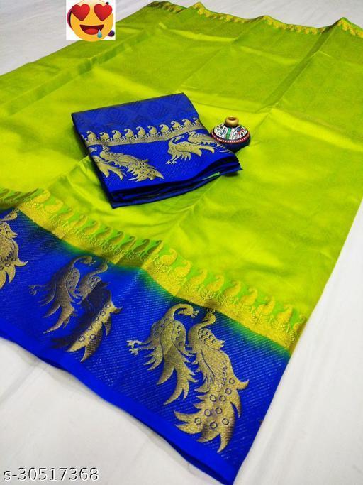 Women's Fancy Kanjivaram Jacquard Saree With Blouse (Parrot,Blue)