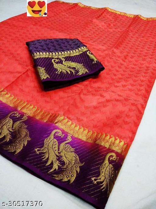 Women's Fancy Kanjivaram Jacquard Saree With Blouse (Gajri,Purple)