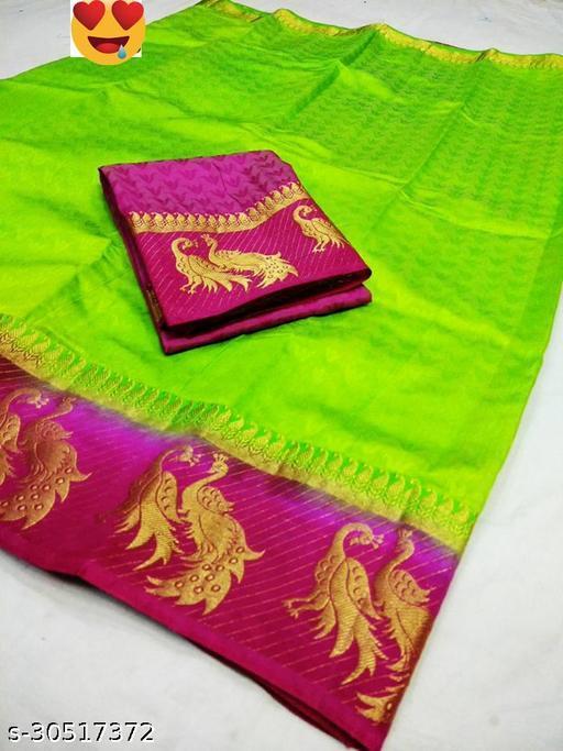 Women's Fancy Kanjivaram Jacquard Saree With Blouse (Parrot,Pink)