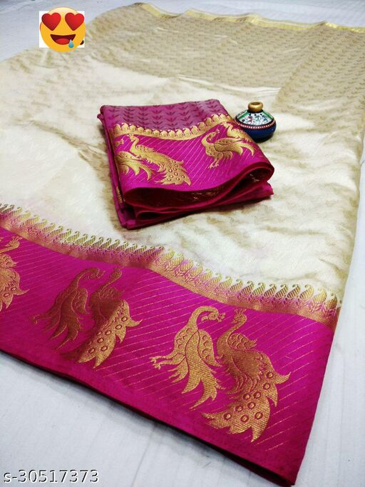 Women's Fancy Kanjivaram Jacquard Saree With Blouse (White,Pink)